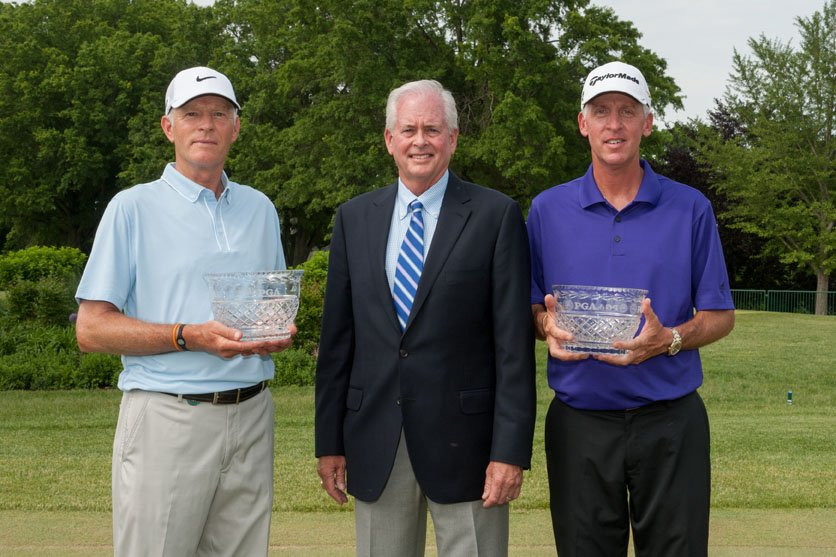 Low PGA Club Professional honoree Jeff Coston; PGA President Ted Bishop; and Low PGA Club Professional honoree Mark Mielke; pose for the media during the final round of the 74th Senior PGA Championship presented by KitchenAid, at Bellerive Country Club on May 26, 2013 in St. Louis, Missouri. (Photo by Rochalle Stewart/The PGA of America)