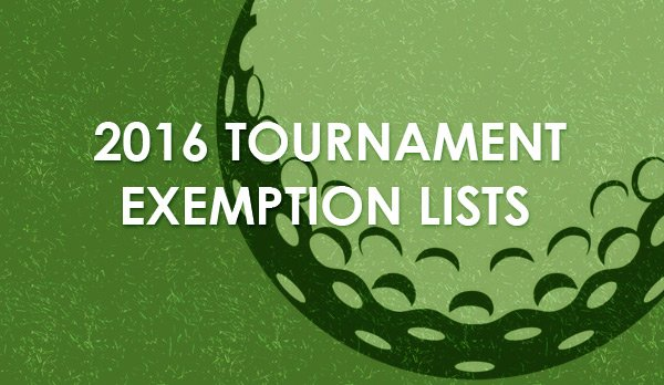 2016 Tournament Exemption Lists Available