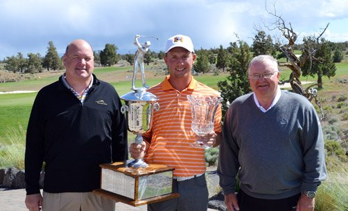 Sponsor Mike Worden (Sun Mountain Sports/Ping Apparel), Champion Hans Reimers and sponsor Cliff Jones (Bridgestone Golf)