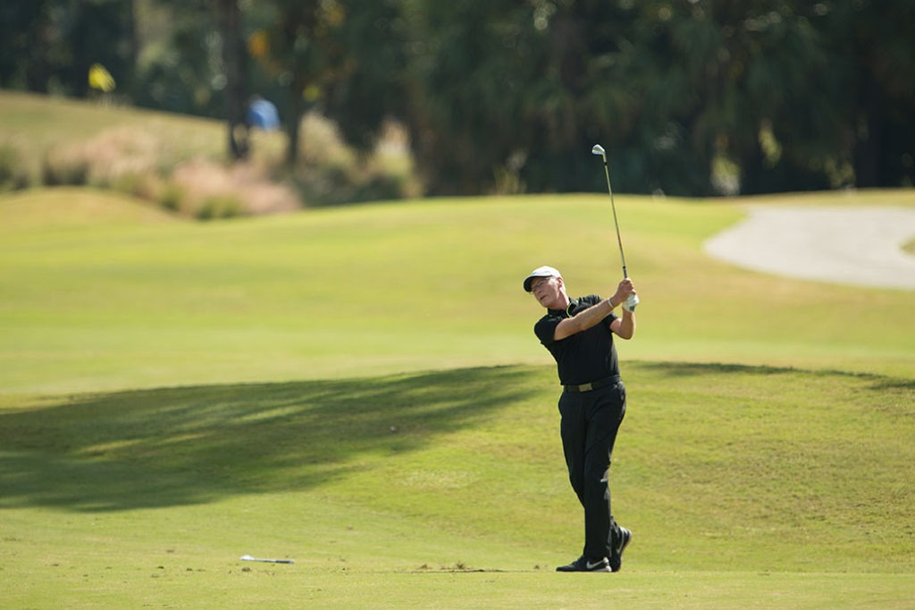 PORT ST. LUCIE, FL - NOVEMBER 18: Jeff Coston hits his shot on the 18th hole during the second round for the Senior PGA Professional Championship held at PGA Golf Club on November 18, 2016 in Port St. Lucie, Florida. (Photo by Montana Pritchard/PGA of America)