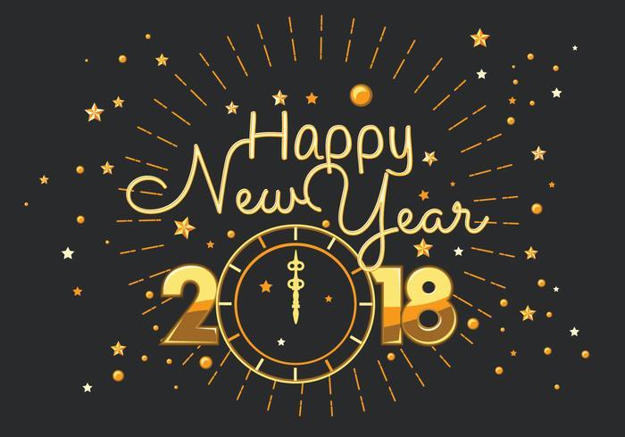 happy new year 2018 typography vector