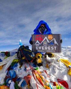 Steve Stevens at the summit of Mt. Everest