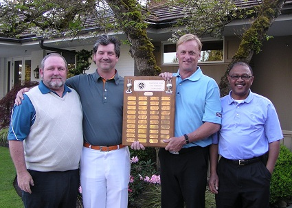 Cedarcrest GC Men's Club President AJ Salvat  and Professional Dave Castleberry Share Low Net Trophy With Fairwood G&CC Professional Rick Larson and Club President Clarence Cal